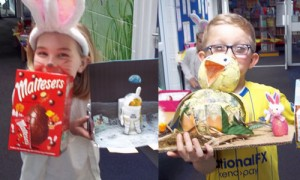Poppy and Kai E with their winning entries