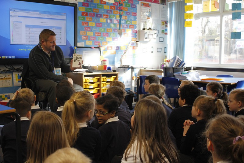 Mr Johnston visits Year 3 to read his favourite book